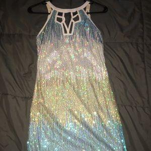 Sparkle ombré gold to blue dress